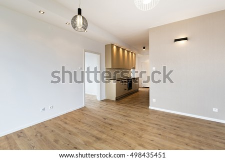 New apartment, empty room with domestic kitchen interior design