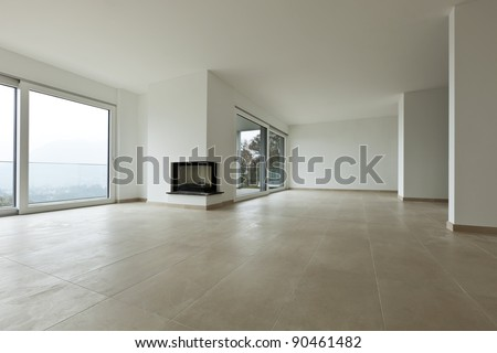 new apartment, living room, view fireplace - stock photo