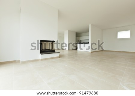 new apartment, living room, view fireplace and kitchen - stock photo