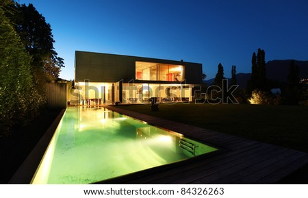 rchitecture Modern Design Beautiful House Night Stock Photo ... - ^