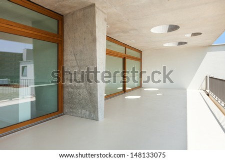 new architecture, modern school, view from balcony - stock photo
