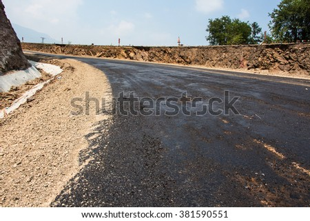 New asphalt on the road construction