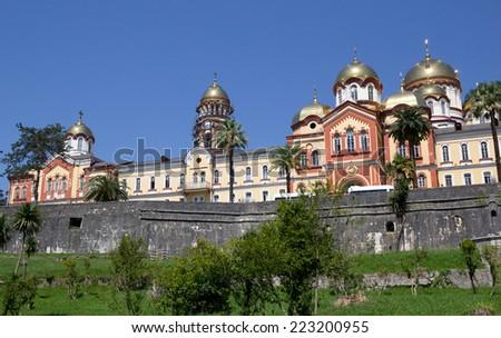 New Athos the Simon the Zealot monastery - monastery located at the foot of mount Athos in Abkhazia. - stock photo