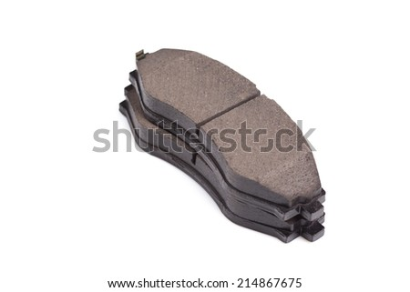 New auto brake pads isolated on white background - stock photo