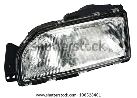 new automobile headlight dipped beam and main beam - stock photo