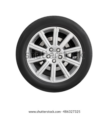 New automotive wheel on light alloy disc isolated on white background