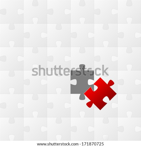 New background made from white puzzle pieces with one red missing - stock photo