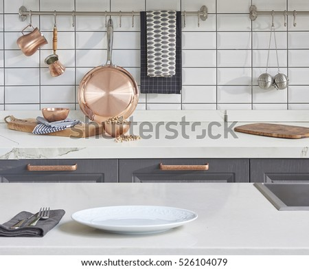 new background white table with modern kitchen accessories, interior design