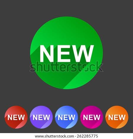 New badge flat icon sign symbol set - stock photo