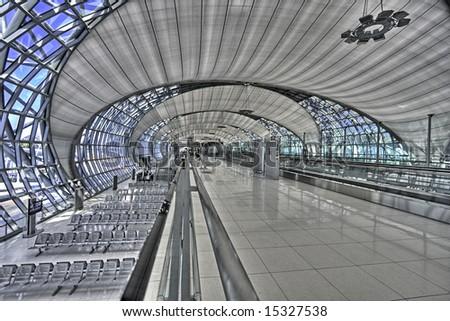 new bangkok airport hall (Thailand) - stock photo
