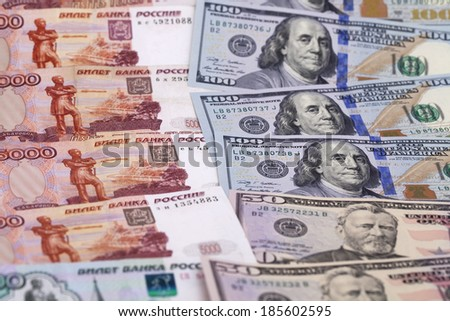 New banknote hundred dollars and russian rubles - stock photo