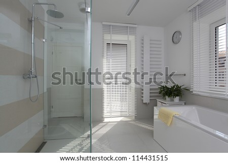 New bathroom in contemporary and stylish house - stock photo
