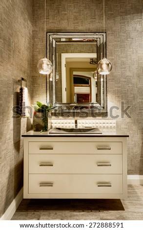 New bathroom in luxury home - stock photo
