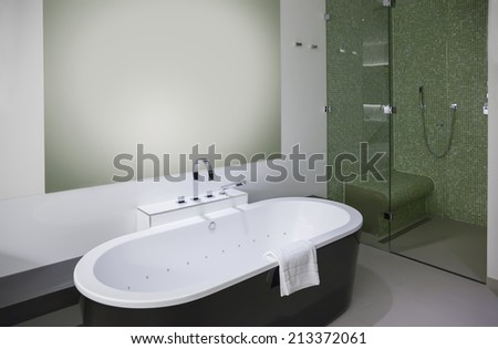 new bathroom in modern hotel - stock photo
