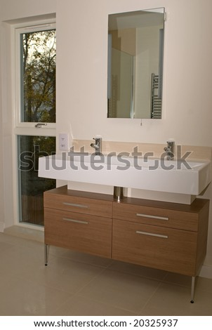 New bathroom in new house - stock photo