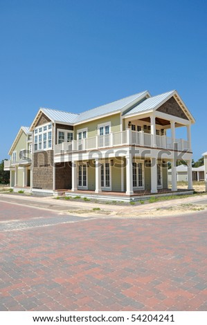 New Beach House in Construction for Sale - stock photo