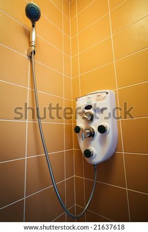 New beautiful shower in a modern bathroom - stock photo