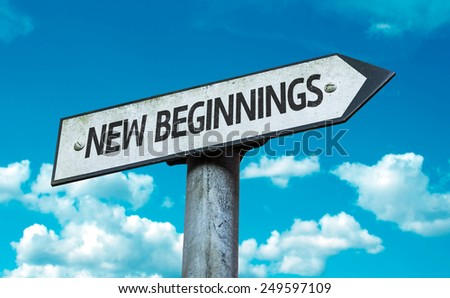 New Beginnings sign with sky background - stock photo
