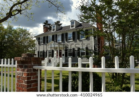 New Bern, North Carolina - April 23, 2016:  1767 Federal style Palmer-Tisdale House in the historic district