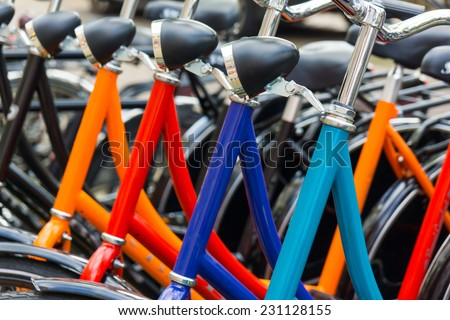 New bicycles for sale or rent in the store - stock photo