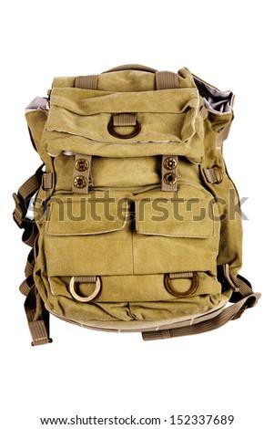 New big khaki backpack isolated on white background - stock photo