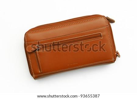 New Big Orange Leather Wallet / Purse isolated on white background - stock photo