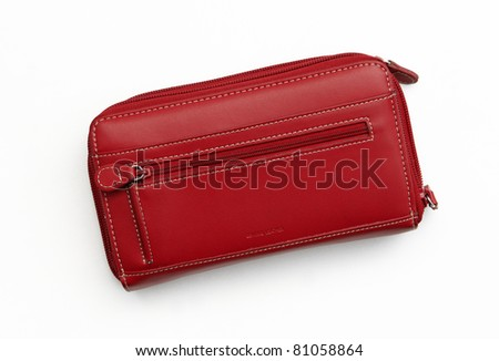 New Big Red Leather Wallet / Purse isolated on white background