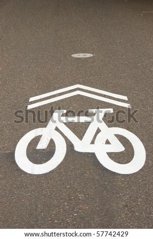 New bike lane markings on a side street in downtown Portland Oregon - stock photo