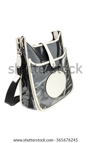 New black glossy womens bag isolated on white background. - stock photo