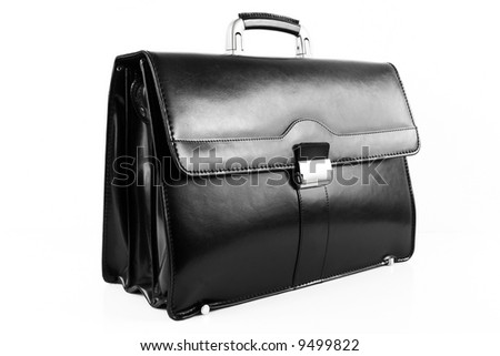 new black leather briefcase over white background - stock photo