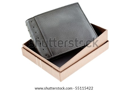 new black leather wallet in a box isolated. horizontal shot