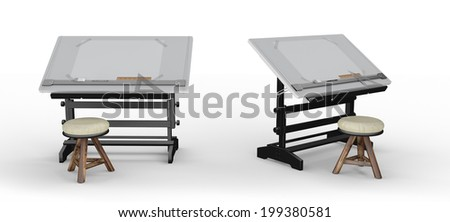 New black metallic drawing table with tools and  stool , clipping path included - stock photo