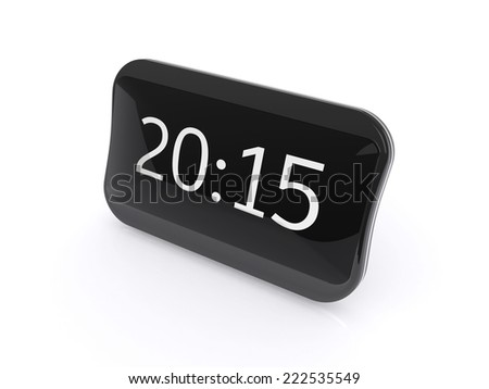 New black shining digital clock isolated on white background with 2015 text - stock photo