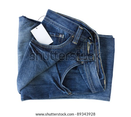 New Blue jeans trouser and tag isolated on the white background