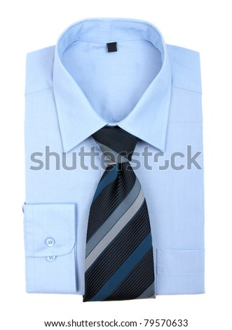 new blue shirt and tie - stock photo