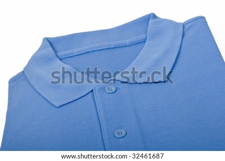 New blue sports shirt isolated on white background - stock photo