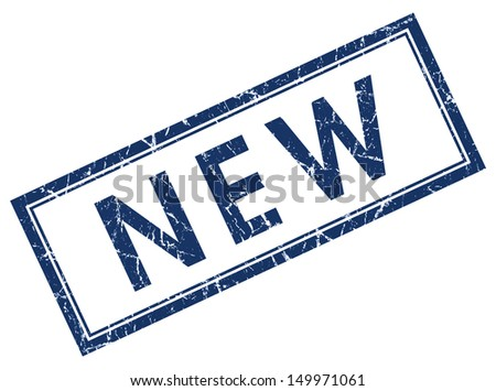 new blue square stamp - stock photo