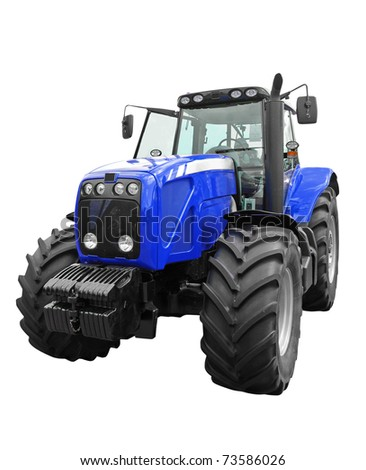 New blue tractor isolated on white background - stock photo