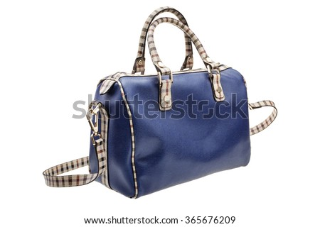 New blue womens bag isolated on white background.