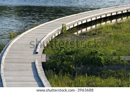 New boardwalk in a city park, Carmel, Indiana