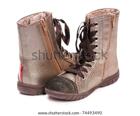 New boots child's fashion - isolated on white background