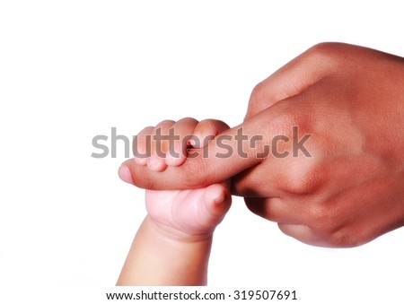 New Born Baby hand, holding moms finger. photographed against white background