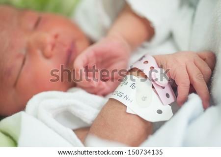 new born baby in hospital - stock photo