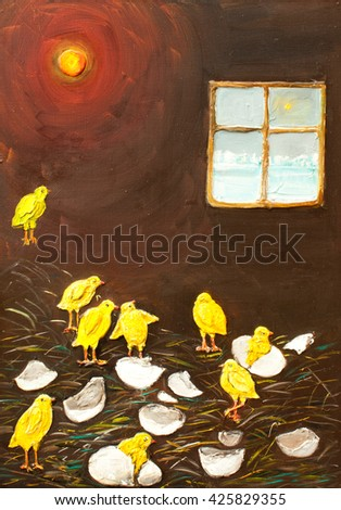 new born chickens original oil painting on canvas, the sad story of incubator life, nine little chickens, small birds impressionism painting, village life , freedom seeking, looking out window - stock photo