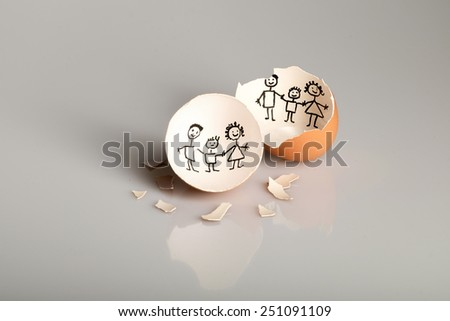 New born. Family. A broken egg where a chick drawn a family