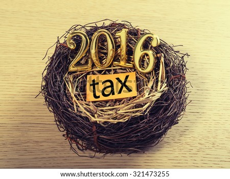 New born 2016 with tax paper on nest - stock photo