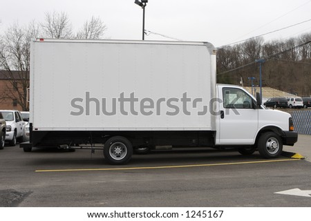 New Box Delivery or Moving Truck - Side View - stock photo