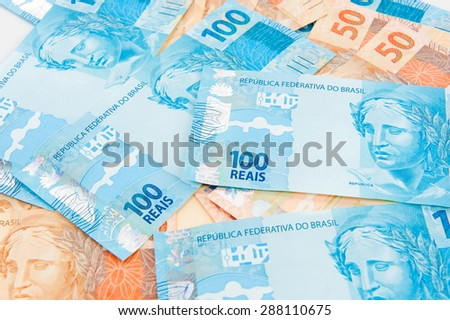 New brazilian currency - Fifty and one hundred Real. - stock photo