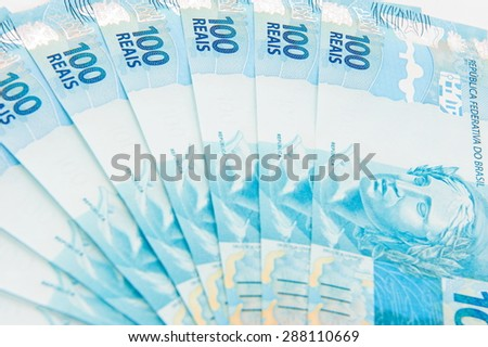 New brazilian currency - one hundred Real. - stock photo