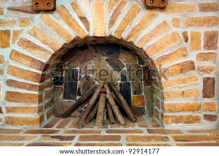 new brick fireplace - stock photo